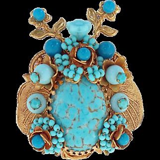 Stanley Hagler N.Y.C. Tones of Blue Art Glass Bead  and Flowers Bug Brooch