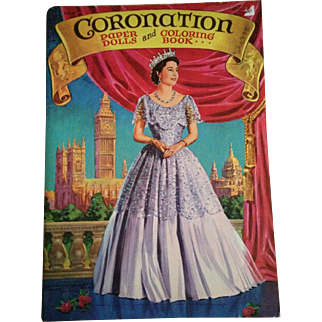 Vintage paper dolls and coloring book of Queen Elizabeth