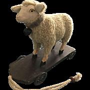 Vintage lamb pull toy