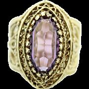 Handmade 14 Karat Yellow Gold Filigree Gorgeous Large Amethyst Ring