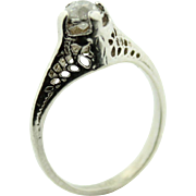 Elegant To Say the Least,,, .5ct Diamond and in 14k Gold Filigree Detailed Cathedral Mount Solitaire Ring