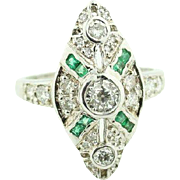 Lady's Mine Cut Diamond & Emerald Illusory Cross Bishop's Cocktail Ring in 14kt White Gold