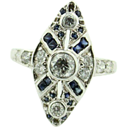 Lady's Mine Cut Diamond & Sapphire Illusory Cross Bishop's Cocktail Ring