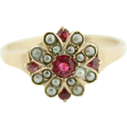 Victorian 14k yellow gold ruby and cultured seed pearls.