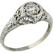 Pinwheel & Butterfly Filigree Detailed Solitaire Ring in 14k White Gold