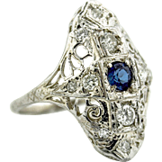 Sapphire & Diamond Filigree Embellished Shield Style Ring In 14kt White Gold