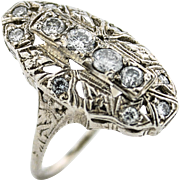 Art Deco Style 4 Stone Center Diamond Ring w/ Accents & Engraved Detail
