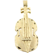 Golden Cello Upright Bass Charm Pendant For Charm Bracelet Or Necklace In 14k Gold