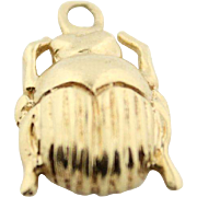 Egyptian Revival Scarab Charm Pendant in 14kt Gold (For Charm Bracelet Or Necklace)
