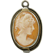 Sterling Silver and Gold Rope Accent Hand Carved Cameo Pendant or Charm