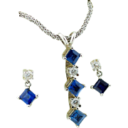 Hand Picked Sapphire & Diamond Earrings & Pendant Necklace Suite Set in 14k White Gold