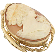 Antique Circa 1910's Hand Carved Cameo Pin in 10kt Gold