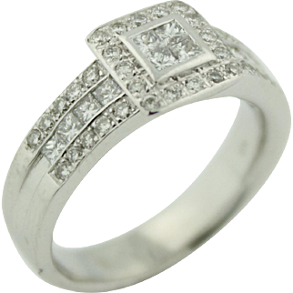 Perfect For Nurse Or Teacher - 1ctw Low Profile Princess Cut Diamond Ring w/ Halo & 3 Rows Of Diamond Accents in 14k White Gold