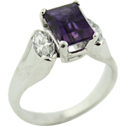 Vintage ArtCarved Designer Amethyst Ring in Stunning 14k White Gold Featuring Bespoke Cut 2ct Amethyst & .5ctw Diamonds