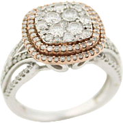 Hot!! Two Tone Rose & White Gold Double Halo Pave Set Diamond Ring in 10kt Gold