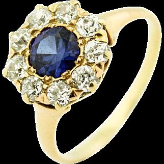 Stunning Victorian Sapphire w/ 1ct Diamond Halo in 14k Gold