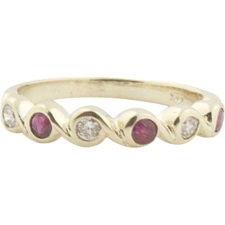 Unique Wave Style Bezel Set Ruby & Diamond Ring in 14k Gold