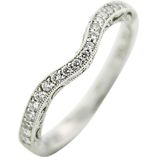 Perfect Curved Contoured Milgrain & Filigree Detailed Diamond Engagement Ring Band in 14kt White Gold