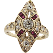 Ladies Bishop Ring with Ruby's and Diamonds set in 14kt Yellow Gold