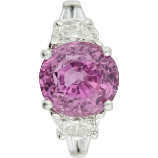 Fabulous Fancy Pink Sapphire & Diamond Ring by JB Star in Platinum w/ GIA Certification