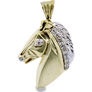 Stunning Diamond Accented Horse Head Equestrian Charm Pendant in Two-Tone 14k Gold