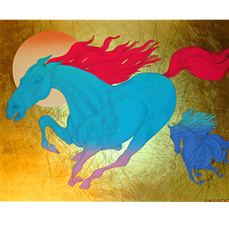 Guillaume Azoulay, Equus hand signed serigraph with gold leaf, 2006