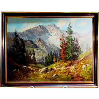 R Gerhard - oil on canvas, Mountain Landscape