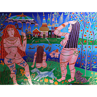 Yuri Gorbachev, The Bathers, hand embellished and signed limited edition silkscreen unframed with COA