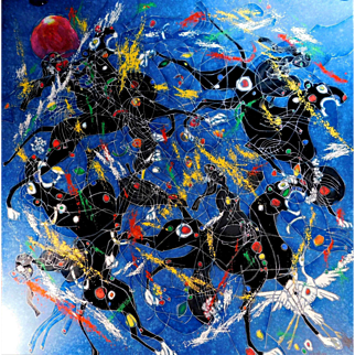 """Jiang, Tie Feng """"Song of Panthers"""", 1985, embellished silkscreen, limited edition, hand signed & numbered by the artist, COA included"""