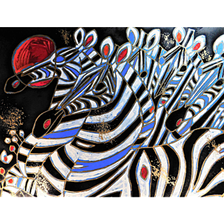 Tie-Feng Jiang, Imperial Zebras, 1992 hand signed Limited Edition embellished serigraph