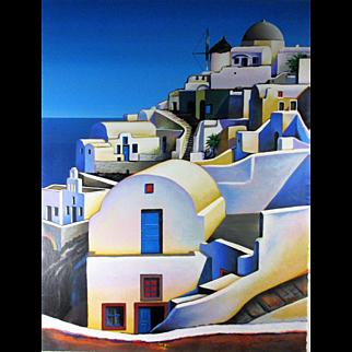 Igor Medvedev, Oia on Santorini, serigraph 590/650 - Image Size - 23 X 17.5