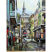 O.L. Coleman, French Quarter Old New Orleans Street Scene, oil on board