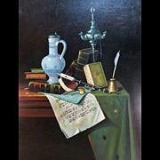 "Mid century original oil after William Michael Hartnett, ""My Gems"" signed Ricci 1967"