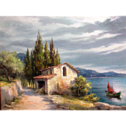 A. Beraudo, Cote D'Azur original oil on canvas signed and dated, 1969