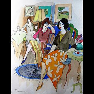 Itzhack Tarkay, original watercolor, Three Women Interior