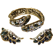 Vintage Shades of Blue  Hollycraft 1959 Clamper Bracelet Earrings