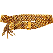 Victorian Gold Filled Slide Mesh Tassel Bracelet