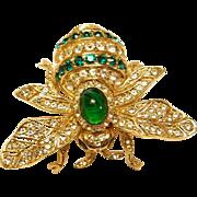 Vintge Ciner 100th Anniversary Bee Pin Brooch  Green Clear Pave Rhinestones
