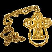 Vintage 60's Kenneth Lane  KJL Buddha Pendant  Necklace
