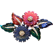 30's Vintage Fruit Salad Carved Glass Ruby Sapphire Emerald Pin Brooch