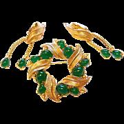 Vintage Boucher Emerald Green Cabochon Pin Brooch Earrings Set
