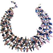 Vintage Japan Signed 4 Strand Glass Bead Necklace