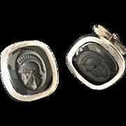 Vintage 835 Silver & Onyx Austrian Cufflinks