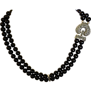 Vintage Sterling Silver & Black Glass Bead Necklace