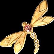 Kenneth J. Lane Rhinestone Dragonfly Brooch