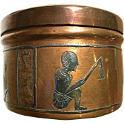 Vintage 1928 Egyptian Copper Trinket Tin With Hieroglyphic Relief