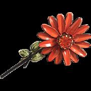 Vintage Francois Coro Enamel Flower Brooch