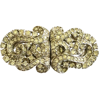 Vintage Coro Patented Combination Rhinestone Brooch and Dress Clips