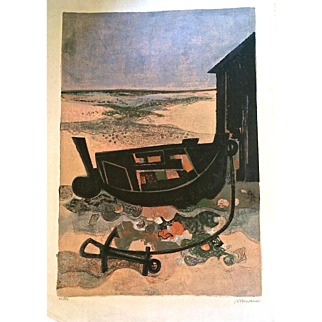 """Andre Minaux (French, 1923-1986) """"Beached Boats"""" Period 1960s"""
