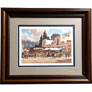 """Lowell Ellsworth Smith """"Market Place"""" 1984 Signed Print"""